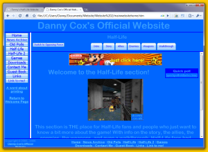 Danny Cox's Official Website, as it looked before the separate Half-Life Website launched, with the Half-Life intoduction page open
