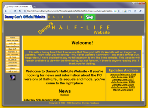 Danny's Half-Life Website, as it looked when I stopped updating it
